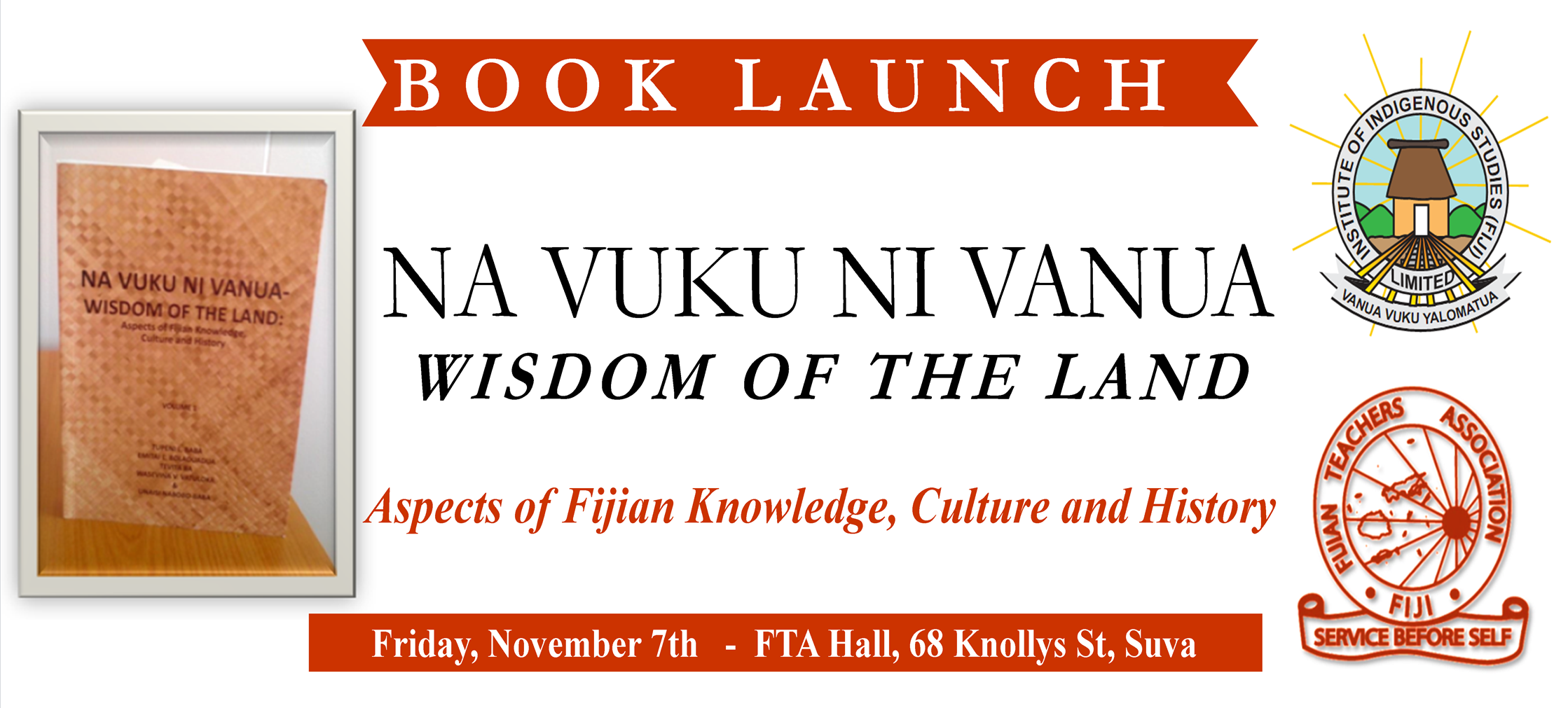 Book Launch, Friday November 7th, 68 Knollys St, Suva